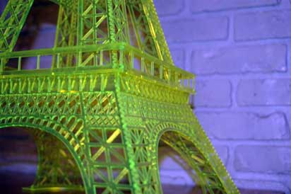 Plexiglass acrylic green fluorescent fretwork replica of the Eiffel Tower