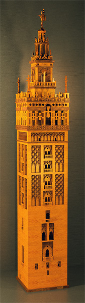 Sketchup rendering of wooden model of Giralda of Sevilla Seville