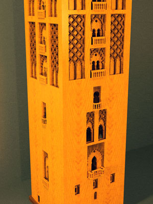 Sketchup rendering of scroll saw plans for the wooden model of the Giralda in Sevilla Spain