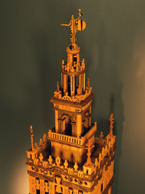 Skechup rendering of upper part of wooden model of the Giralda with Giraldillo on top