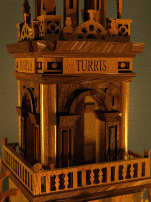 clock section of the Giralda wooden model for scroll saw