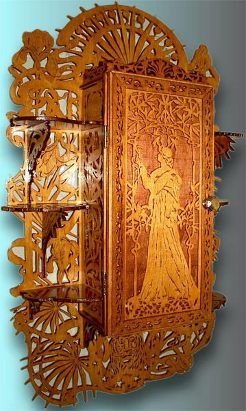 Art Nouveau Cabinet Scroll Saw Fretwork Pattern