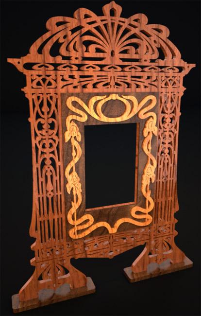 Art nouveau frame scroll saw fretwork pattern for Miroir art nouveau
