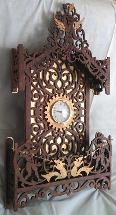 Cherub Clock Scroll Saw Fretwork Pattern
