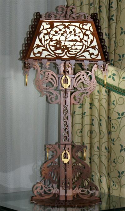 Dragons Table Lamp Scroll Saw Fretwork Pattern