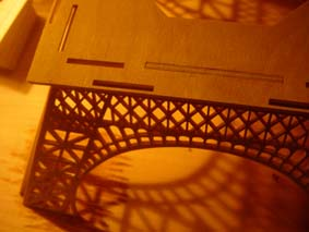 first section of the Eiffel Tower scroll saw wooden model