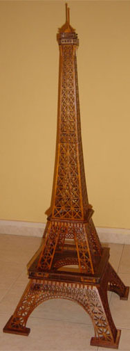 Eiffel Tower scroll saw fretwork wooden model