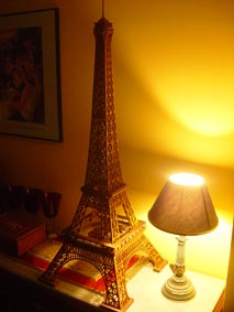 Eiffel Tower project completed, by a lamp with a black shade
