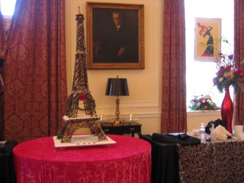 Gingerbread Eiffel Tower model in an elegant living room