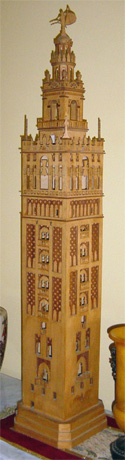 Scroll saw fretwork model of the Giralda in Sevilla, Spain