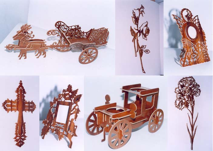 Fretwork models of cross, frame, car, rose, dragon