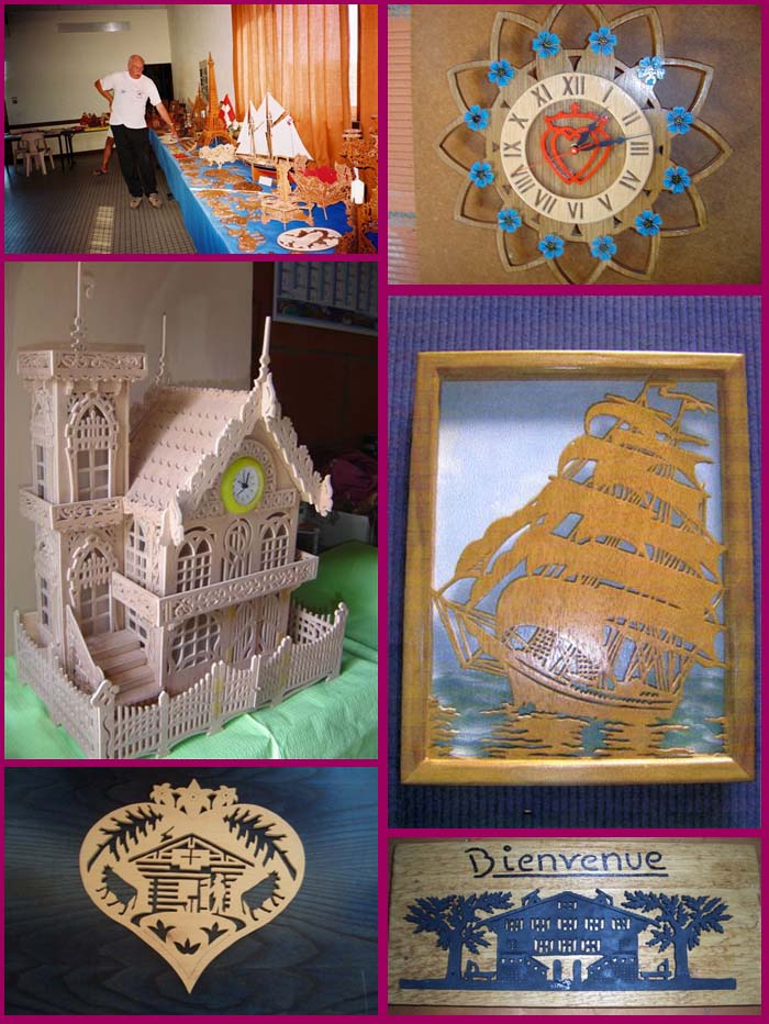 scroll saw fretwork clock, castle, ship