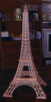 Scroll saw fretwork model of the Eiffel Tower