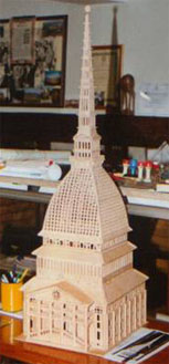 Mole Antonelliana in Torino, wooden scroll saw fretwork model