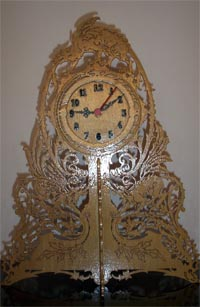 scroll saw fretwork clock with dragons