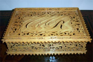 scroll saw fretwork wooden coffer