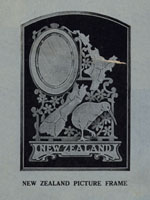 wooden mirror with New Zealand map and a kiwi