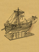 wooden model of a roman merchant ship