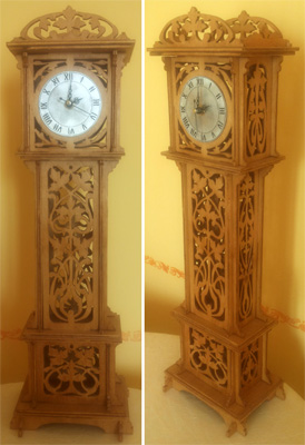 Grandfather clock, scroll saw fretwork pattern
