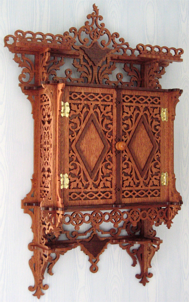 Beau This Is An Attractive Wall Cabinet, Nicely Ornamented With Rich Fretwork.  The Cabinet Needs To Be Completed With A Knob, Hinges, Internal Shelves, ...