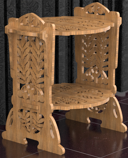 Wooden kitchen stand with two shelves, scroll saw fretwork pattern