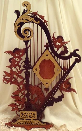 Lyre Angels Frame Scroll Saw Fretwork Pattern