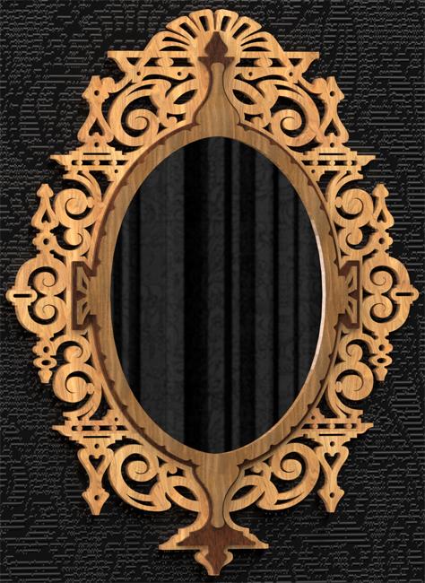 Marco ovalado de espejo, plano para madera calada con sierra de ...