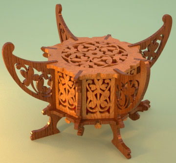 Plate holder table center, scroll saw fretwork pattern