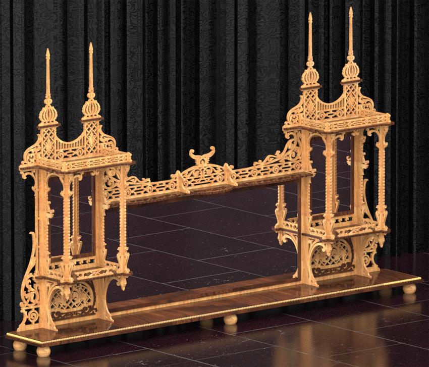 Gran estante estilo renacimiento, plano para madera calada con ...