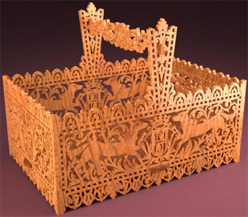 Russian basket, scroll saw fretwork pattern
