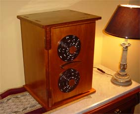 completed scroll saw security box by a black table lamp