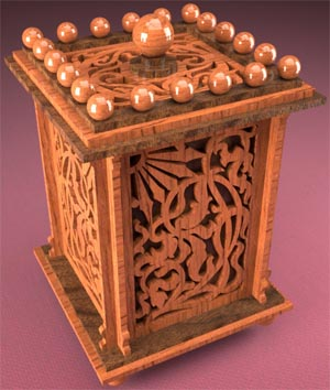 Tobacco or tea casket, scroll saw fretwork pattern