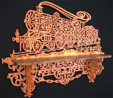 Victorian locomotive shelf, scroll saw fretwork pattern of a train shelf