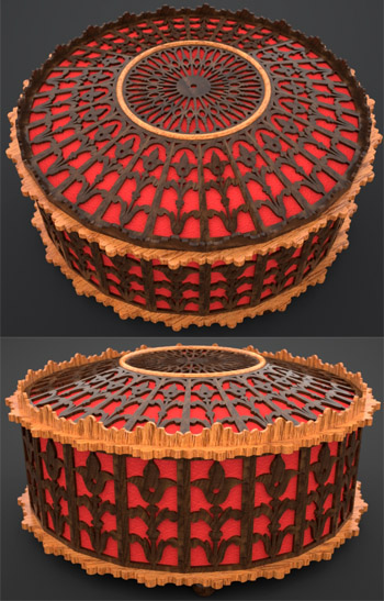 Victorian round box, scroll saw fretwork pattern with beads