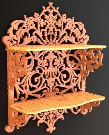 Scroll saw fretwork shelf in renaissance style